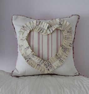 Ivory Ruffle Heart Cushion