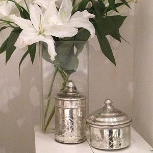 Antiqued Mirrored Lidded Glass Jars - fireplace accessories