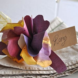 Rhubarb N' Custard Paper Flower Place Setting - placename holders