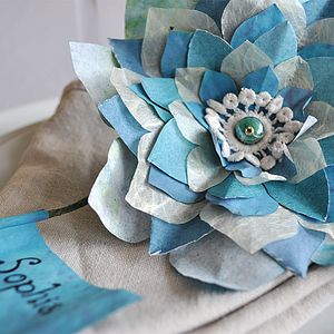 Something Blue Paper Flower Place Setting - place card holders