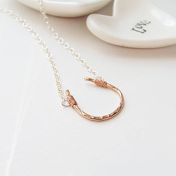 Rose Gold Vermeil Horseshoe Necklace with Silver Chain by EVY Designs Ltd