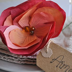 Autumnal Paper Flower Place Setting - placename holders
