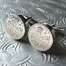 Handmade 60th Birthday Sixpence Cufflinks