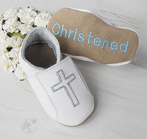 Personalised Christening Shoes With Cross