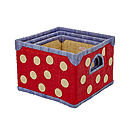 Raffia Red White Spot Storage Basket