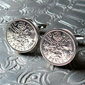 50th Birthday Sixpence Cufflinks - 50th birthday gifts