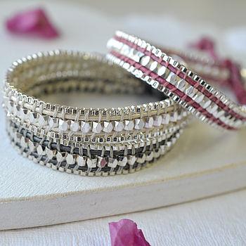 Personalised Metallic Short Leather Wrap Bracelet