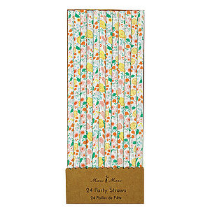 Floral Paper Party Straw Set Of 24 - picnics & barbecues