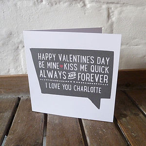 Personalised Retro Quote Valentines Card