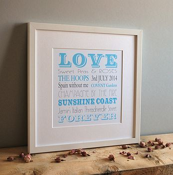 Personalised love print white frame