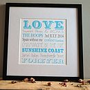 personalised love print black frame