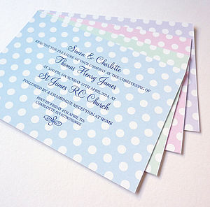 Spotty Personalised Christening Invitations