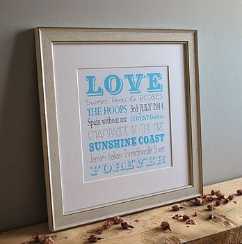 personalised valentine print white distressed frame