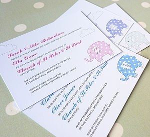 Baby Elephant Christening Invitations