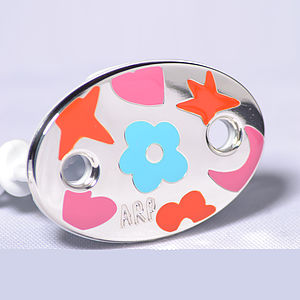 Designer Colours Sterling Silver Dummy Clip Baby Gift - baby & child sale