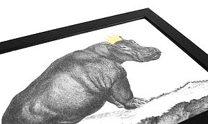 Hand Gilded Hippo Print - animals & wildlife