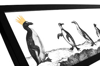 Penguin Parade Hand Gilded Print