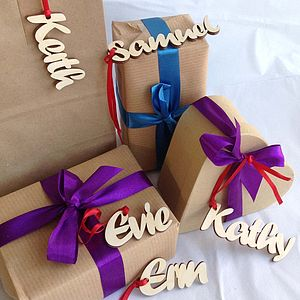 Personalised Natural Wood Name Gift Tags - tree decorations
