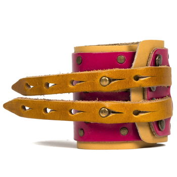 Pink and Yellow Studded Leather Pirate Cuff