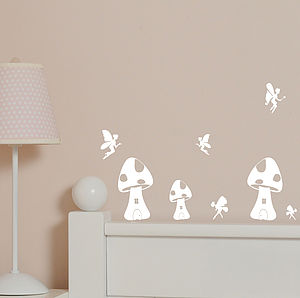 Set Of Mini Fairy Houses Wall Stickers - bedroom
