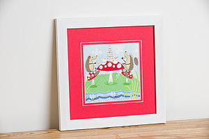 'Hedgehugs' Tea Party Framed Print - posters & prints