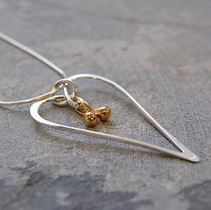 Silver Heart Golden Drop Necklace - necklaces & pendants