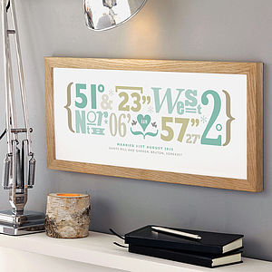 Express Framed Personalised Coordinates Print