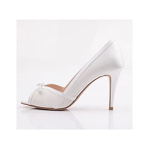 Simple White Ribbon Heels - bridal shoes