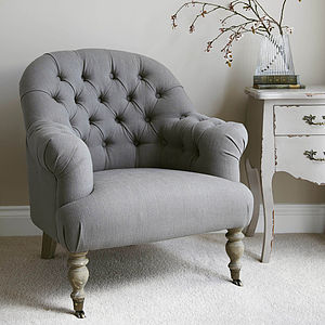 Linen Button Back Armchair Grey Or Natural - armchairs