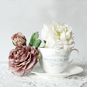 Personalised Bone China Wedding Cup And Saucer