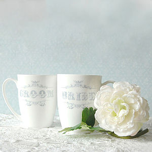 Pair Of Personalised 'Bride' And 'Groom' Mugs