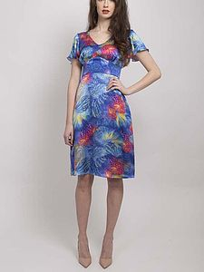 Printed A Line Silk Dress - women's fashion