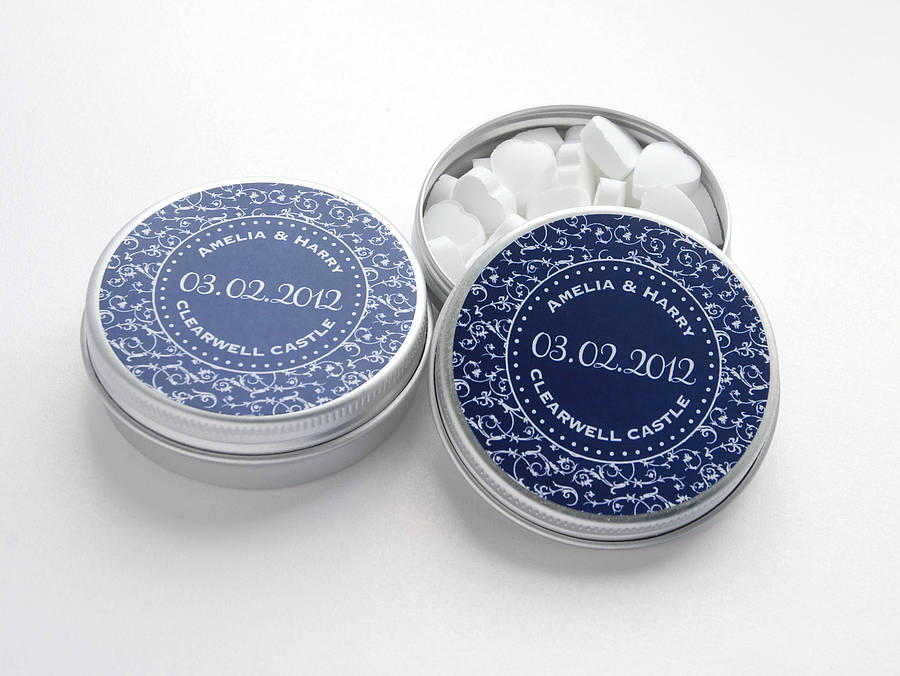 Personalised Wedding Favour Tins In Navy