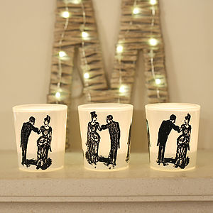 Three 'Dancing Couple' Tea Light Holders