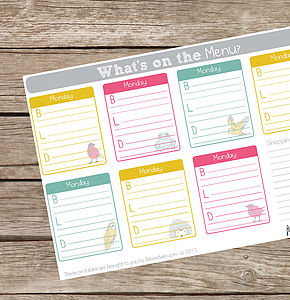 Printable Meals Planner - summer sale