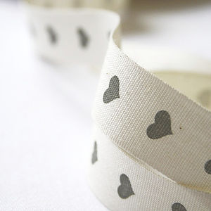 Dove Grey Heart Ribbon - diy stationery