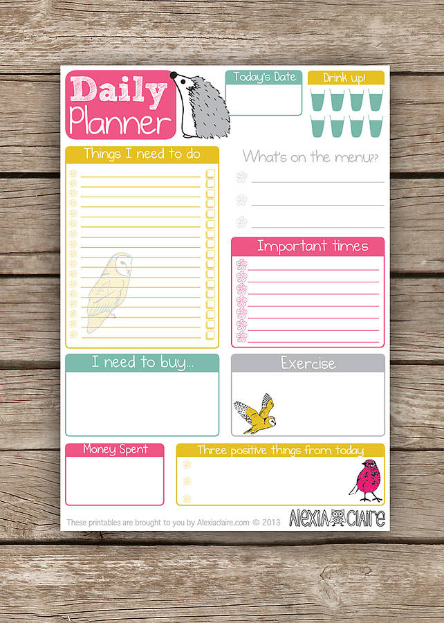 printable daily planner by alexia claire