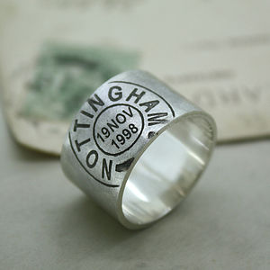 Mens Personalised Place And Date Ring