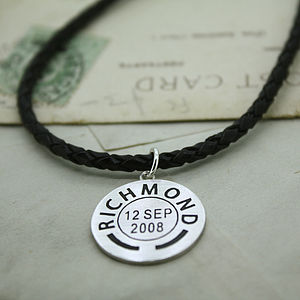 Mens Personalised Place And Date Pendant - men's jewellery