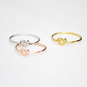 Tiny Heart Knot Ring - rings