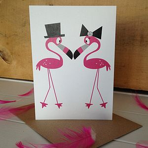 Mr And Mrs Flamingo Wedding Card