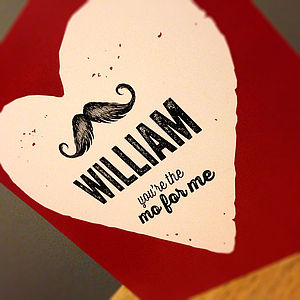 Moustache Valentine's Card - personalised cards