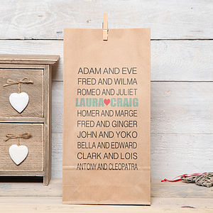 Personalised Couples Names Gift Bag - wrapping