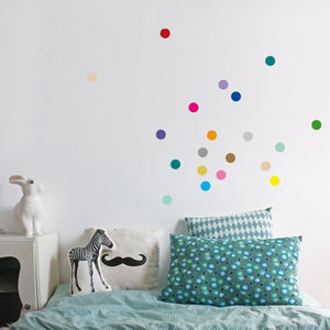 Personalisable Colour Dots Wall Stickers Set Of 40 - pastel bedroom