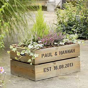 Personalised Wooden Crate Planter - best gifts for mums