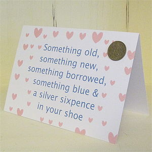 Bride To Be Lucky Sixpence Card - charm jewellery
