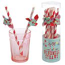 Retro Paper Straw W Windmill Set Of 12