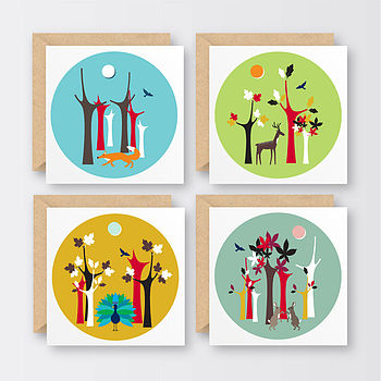 Set Of Four Walk In The Woods Notecards