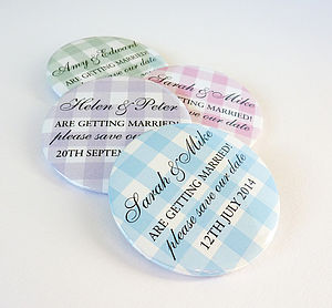 Gingham Personalised Save The Date Magnets