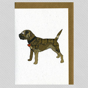 Illustrated Grizzle Border Terrier Blank Card